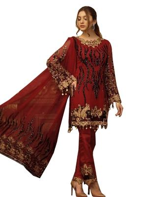 Maroon Embroidered Georgette Salwar