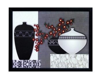 Abstract Pots Theme Satin Matt Texture UV Art Painting