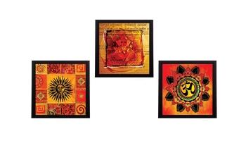 Set Of 3 Om and Ganesha Satin Matt Texture UV Art Painting