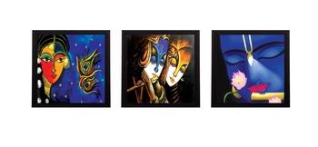 Set Of 3 Lord Krishna and Radha Satin Matt Texture UV Art Painting