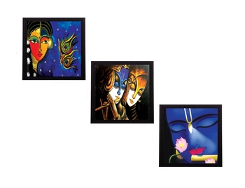 Set Of 3 Lord Krishna and Radha Satin Matt Texture UV Art Painting