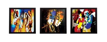 Set Of 3 Colorful Radha and Krishna Satin Matt Texture UV Art Painting