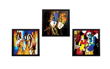 Set Of 3 Colorful Radha and Krishna Satin Matt Texture UV Art Painting