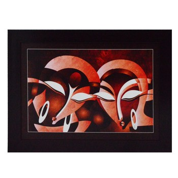 Abstract Figures Satin Matt Texture UV Art Painting