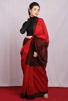 red woven Ikat Saree With Blouse