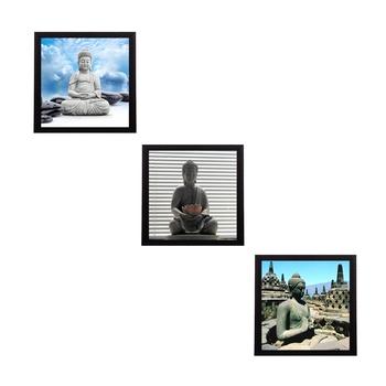 Set Of 3 Meditating Buddha Satin Matt Texture UV Art Painting