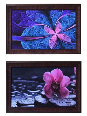 Set of 2 Floral Satin Matt Texture UV Art Painting