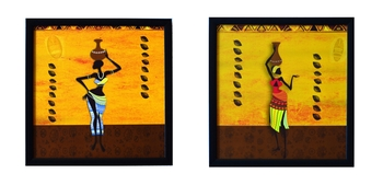 Set of 2 Tribal Lady Satin Matt Texture UV Art Painting