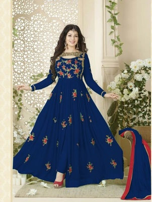 Blue Embroidered Georgette Semi-Stitched Salwar with dupatta