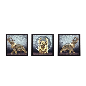 Set Of 3 Buddha and Elephant Satin Matt Texture UV Art Painting