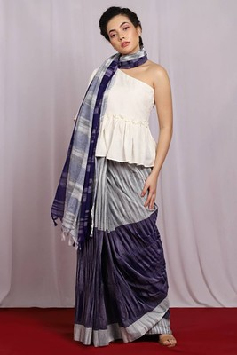 Royal blue woven Ikat Saree With Blouse