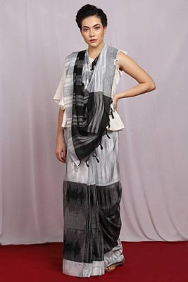 grey handwoven Ikat Saree With Blouse