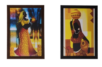 Set of 2 Village Lady Satin Matt Texture UV Art Painting