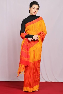 yellow hand woven Ikat Saree With Blouse