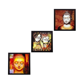 Set Of 3 Radha Krishna and Buddha Satin Matt Texture UV Art Painting