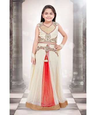 white embroidered Net stitched kids lehenga choli