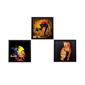 Set Of 3 Radha Krishna and Ganesha Satin Matt Texture UV Art Painting
