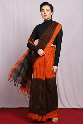 orange hand woven Ikat Saree With Blouse