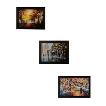 Set of 3 Nature's beauty scenary Satin Matt Texture UV Art Painting