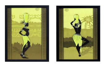 Set of 2 Tribal Women Satin Matt Texture UV Art Painting
