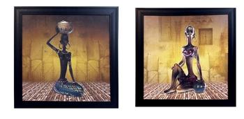 Set of 2 Tribal Women Satin Matt Texture UV Art Painting