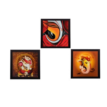 Set Of 3 Lord Ganesha Satin Matt Texture UV Art Painting