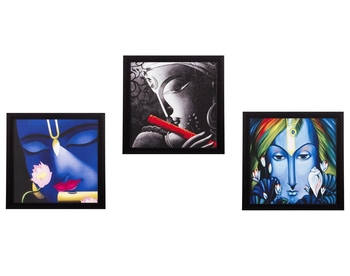 Set Of 3 Krishna Satin Matt Texture UV Art Painting