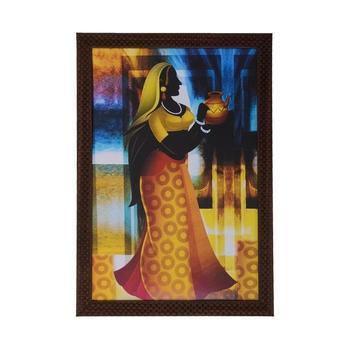 Village Lady Satin Matt Texture UV Art Painting