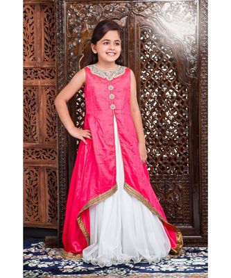 pink embroidered polyester stitched kids girl gowns