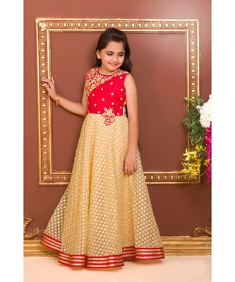 red embroidered Jacquard stitched kids girl gowns