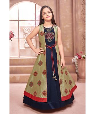 blue embroidered polyester stitched kids girl gowns