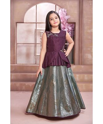 purple embroidered polyester stitched kids girl gowns
