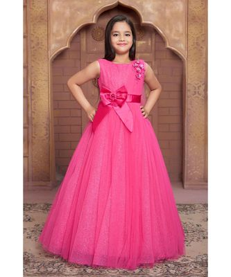 pink woven polyester stitched kids girl gowns