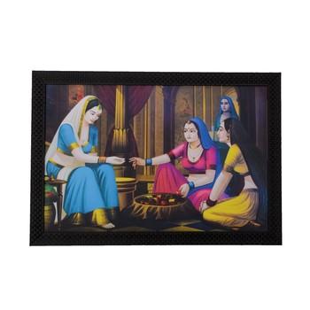 Village Lady Buying Bangles Satin Matt Texture UV Art Painting