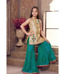 green woven polyester stitched kids girl gowns