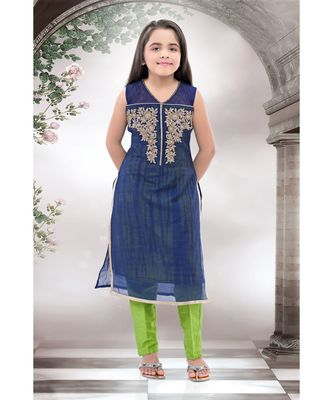 blue woven polyester stitched kids girl gowns