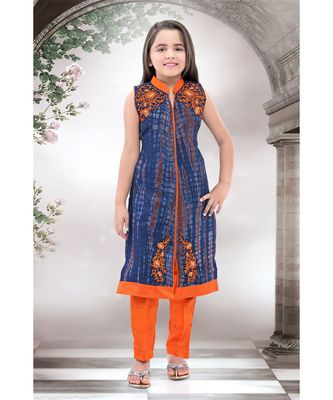 orange woven polyester stitched kids girl gowns