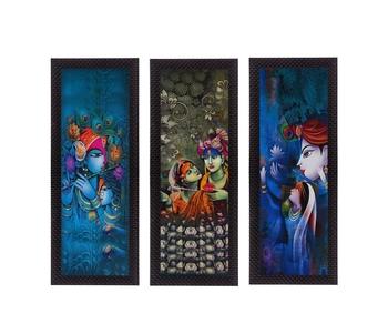 Set Of 3 Lord Krishna and Lordess Radha Satin Matt Texture UV Art Painting