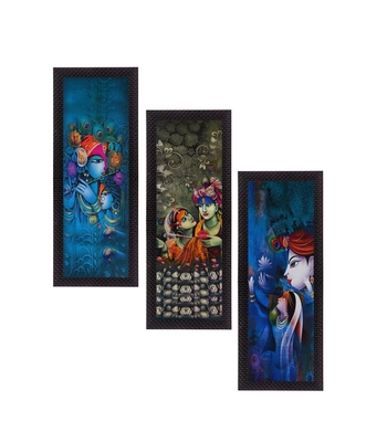 Set Of 3 Lord Krishna and Lordess Radha Satin Matt Texture UV Art Painting