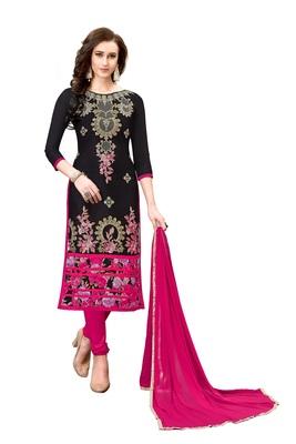 Woman Black Cotton Blend Embroidery Unstitched Salwar Kameez Dress Material