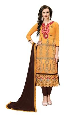 Woman Orange Cotton Blend Embroidery Unstitched Salwar Kameez Dress Material