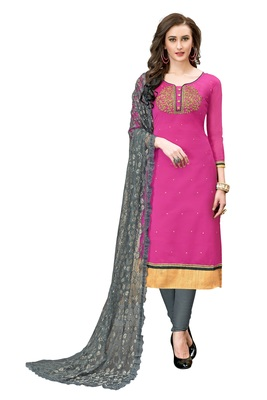 Woman Pink Cotton Blend Embroidery Unstitched Salwar Kameez Dress Material