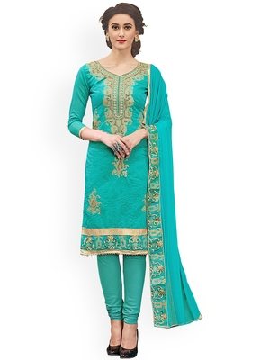 Woman Turquiose Cotton Blend Embroidery Unstitched Salwar Kameez Dress Material