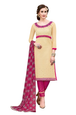 Woman Beige Cotton Blend Embroidery Unstitched Salwar Kameez Dress Material