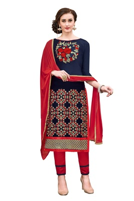 Woman Blue Cotton Blend Embroidery Unstitched Salwar Kameez Dress Material