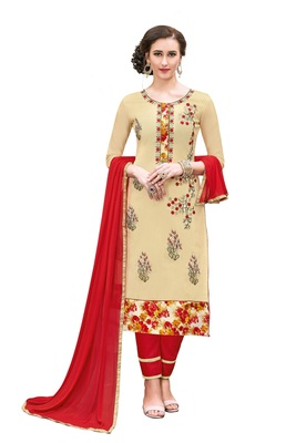 Woman Beige Cotton Blend Embroidery Unstitched Salwar Kameez Dress Material