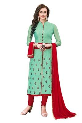 Woman Turquiose Cotton Blend Embroidery Unstitched Salwar Kameez Dress Material