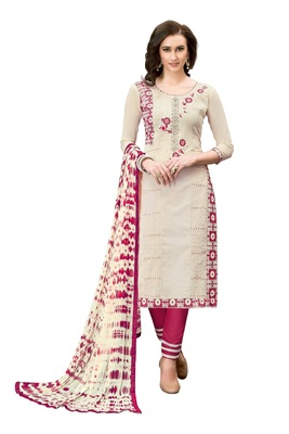 Woman Cream Cotton Blend Embroidery Unstitched Salwar Kameez Dress Material