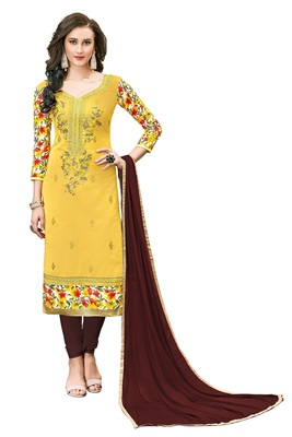 Woman Yellow Cotton Blend Embroidery Unstitched Salwar Kameez Dress Material