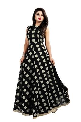 Black Chanderi Ankle Length A-Line Gown With American Crepe Inner (Full Inner)